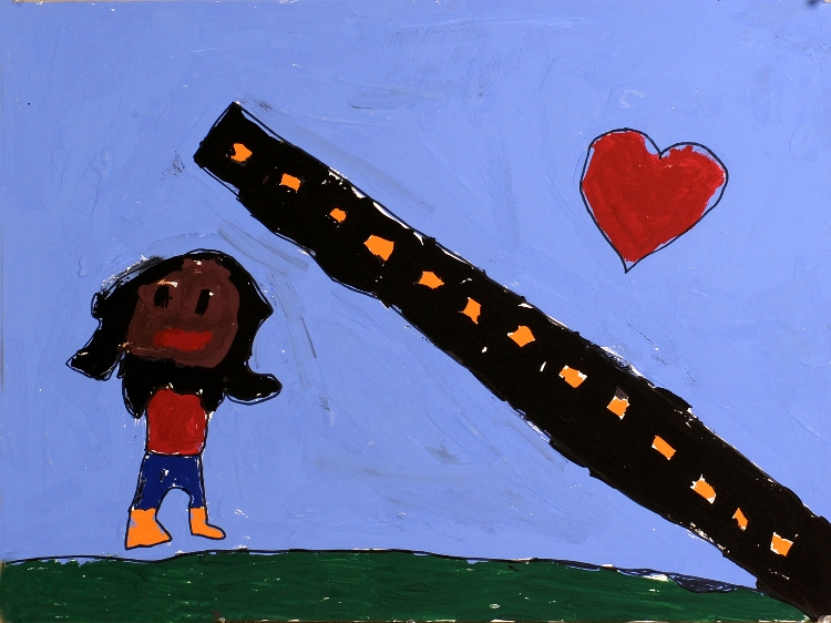 "Marian: ""I decided to move to D.C. to seek a good job."" Alexandria, 2nd Grade Tempera paint on illustration board. Photo: James R. Brantley"