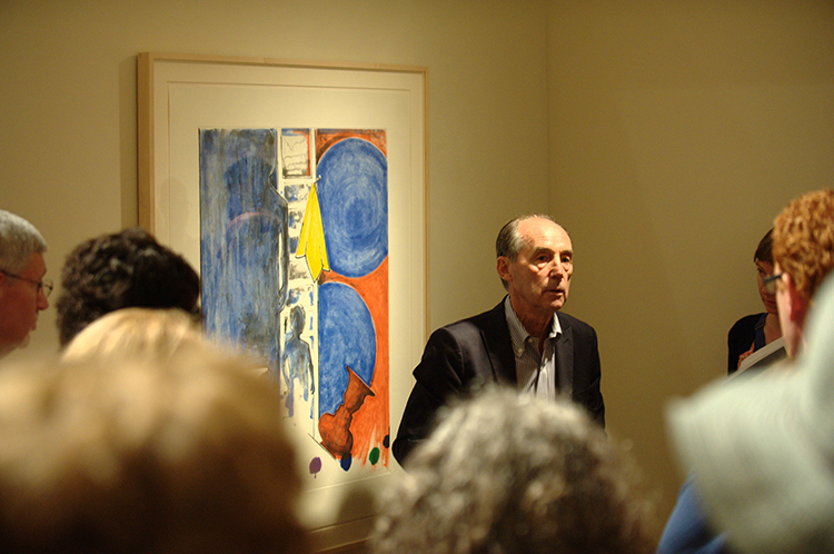 Bill Goldston talks to visitors in the galleries