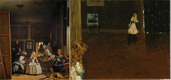 (leftt) Diego Velázquez, Las Meninas, 1656. Museo del Prado, Madrid. (right) William Merritt Chase, Hide and Seek, 1888. The Phillips Collection, Washington, D.C.