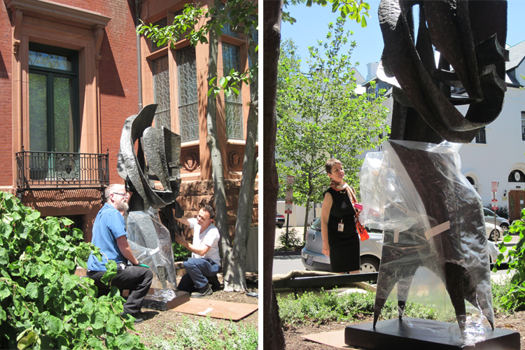 Images of Phillips staff installing the sculpture