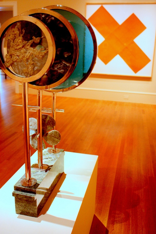 Installation photo by Kate Boone of Main Gallery with (left to right) Morris Graves, Weather Prediction Instruments for Meteorologists, 1962/1999. The Phillips Collection, Washington, D.C.; Robert Mangold, X Within X Orange, 1981. The Phillips Collection, Washington, D.C.