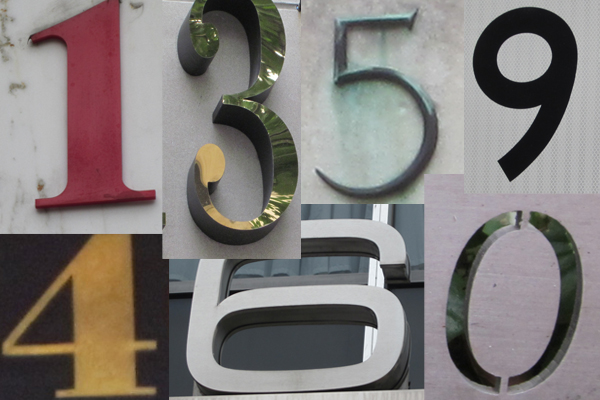 Images of numbers found on houses and signs