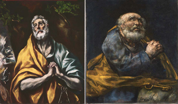 Images of two very different paintings of the same subject: El Greco, The Repentant St. Peter, 1600 - 1605 or later. Oil on canvas, 36 7/8 x 29 5/8 in. The Phillips Collection, Washington, D.C. Acquired 1922; Francisco Jose de Goya, The Repentant St. Peter, circa 1820-1824. Oil on canvas, 28 3/4 x 25 1/4 in. The Phillips Collection, Washington, D.C. Acquired 1936.