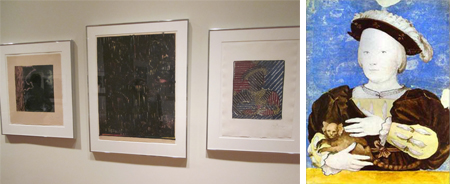 Installation shot of Jasper Johns's After Holbein, Holbein the Younger Nobleman Holding a Lemur