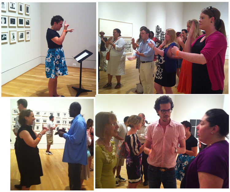Photos of guests at Phillips after 5 participating in American Sign Language lessons.