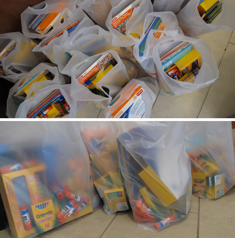 Photos of bags packed with k-12 teaching materials