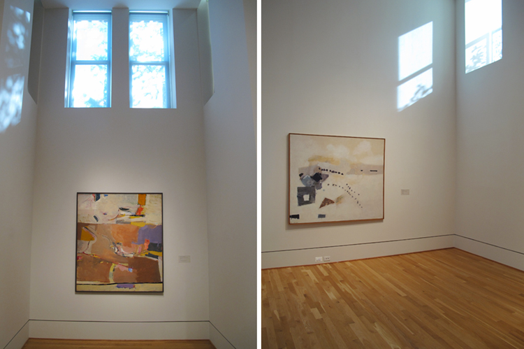 (left) Richard Diebenkorn, Berkeley No. 1, 1953. Oil on canvas, 60 1/4 x 52 3/4 in. The Phillips Collection, Washington, D.C. Gift of Mr. and Mrs. Gifford Phillips, 1977. (right) Kenzo Okada, Footsteps, 1954. Oil on canvas, 60 3/8 x 69 7/8 in. The Phillips Collection, Washington, D.C. Acquired 1956.