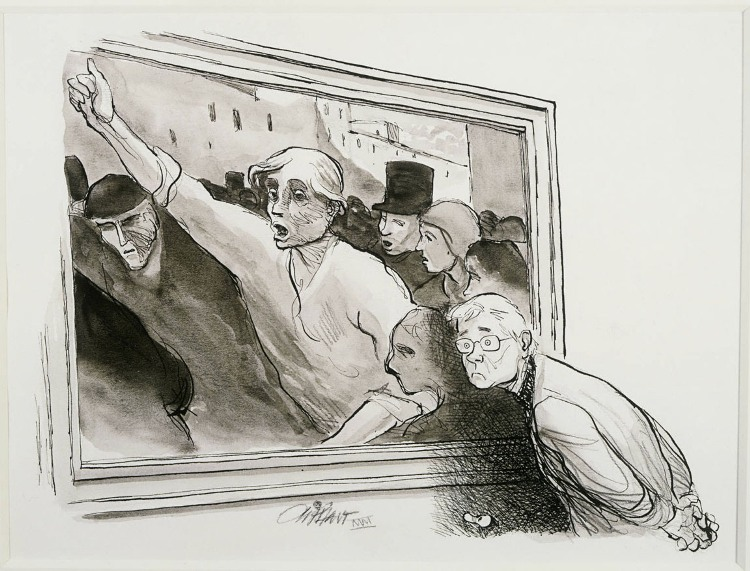 Patrick Oliphant, Homage to Daumier, Feb. 20, 2000. Ink, ink wash and pencil on paper, 9 1/2 x 12 1/2 in. The Phillips Collection, Washington, D.C. Gift of the artist, 2002.