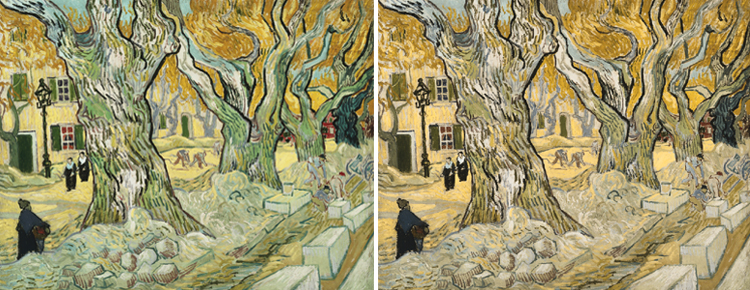 Side by side comparison of van gogh's original The Road Menders and the same painting run through a Chromatic Vision Simulator