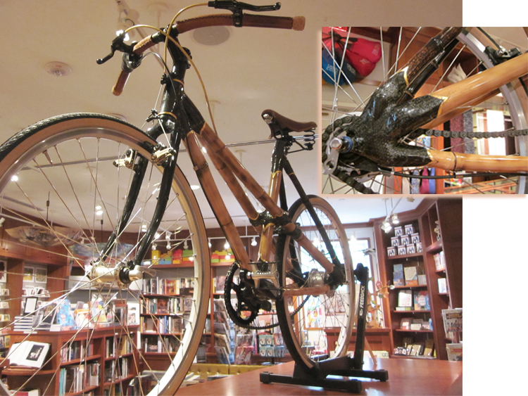 Picture of a bicycle made out of bamboo