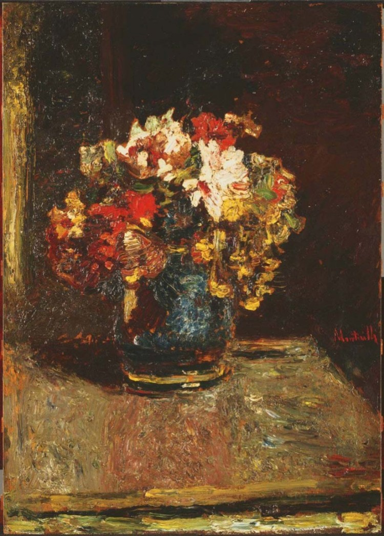 Adolphe Monticelli, Bouquet, c.1875. Oil on wood panel, 27 1/4 x 19 3/8 in. The Phillips Collection, Washington, D.C. Acquired 1961.