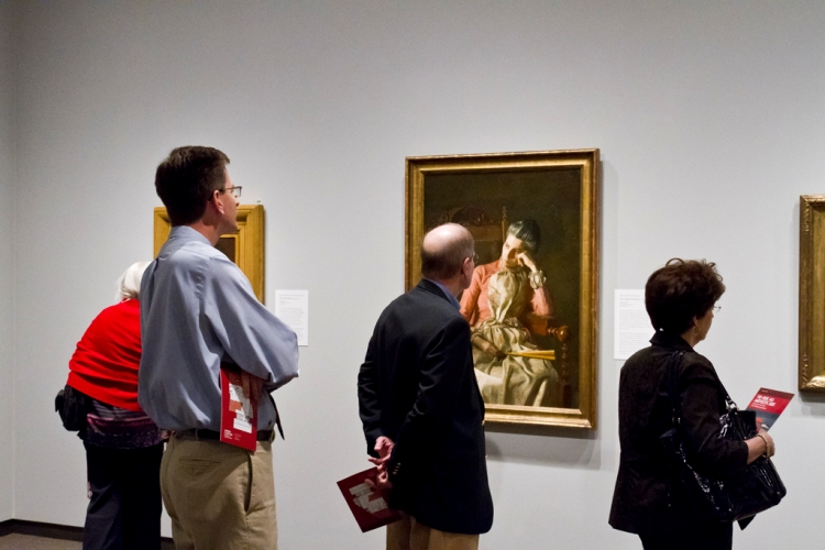 Guests encounter Thomas Eakins's Miss Amelia Van Buren (c. 1891), one of the Phillips's American masterworks, at the Amon Carter Museum. Photo: Matt Golden