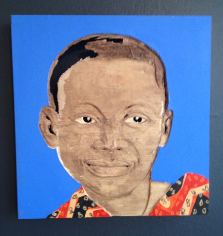 One of Aimé Mpane's portraits on view in Nomad Gallery at (e)merge. Photo: Dorothy Kosinski
