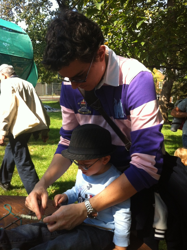My husband and son participating in the art activity at The Kreeger Museum. Photo: Brooke Rosenblatt