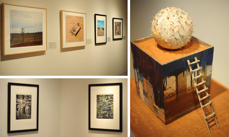 "(clockwise from upper left) Contemporary photographs from The Phillips Collection, including William Christenberry's ""Gourd Tree, near Akron, Alabama"" (1981); William Christenberry, ""Southern Monument XI"", 1983. Mixed media, wood, metal, signage, roofing materials and paint, 19 in x 28 1/2 in x 19 in. The Phillips Collection, Washington, D.C. Gift of Philip M. Smith, 2004; two ink paintings by William Christenberry, ""Tree"" (2006) and ""Night Landscape"" (2004), both German ink on sandpaper; 11 x 9 inches. Gift of Sandra and William Christenberry, 2010. Photos: Joshua Navarro"