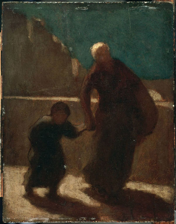 Honoré Daumier, On a Bridge at Night, 1845-1848. Oil on wood panel, 10 3/4 x 8 5/8 in. The Phillips Collection, Washington, D.C. Acquired 1922.