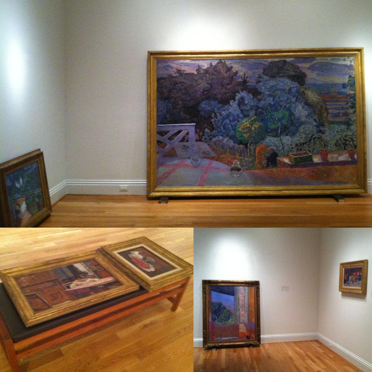 (clockwise from top) Marc Chagall's The Dream (1939) and Pierre Bonnard's The Terrace (1918) take their positions and wait to be hung. Bonnard's The Open Window (1921) and The Checkered Tablecloth (c. 1925) will soon hang side by side. Bonnard's Interior With Boy (1910) and Bowl of Cherries (1920) await placement.