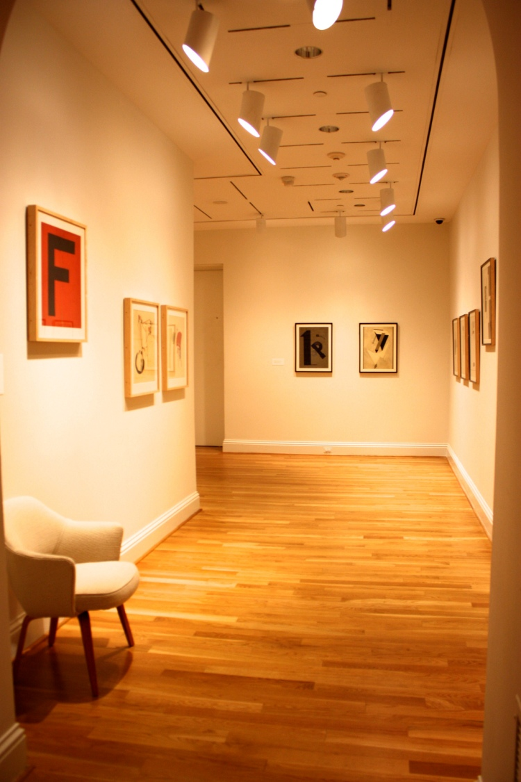 Current installation of El Lissitzky's futurist print portfolios. Photo: Kate Boone