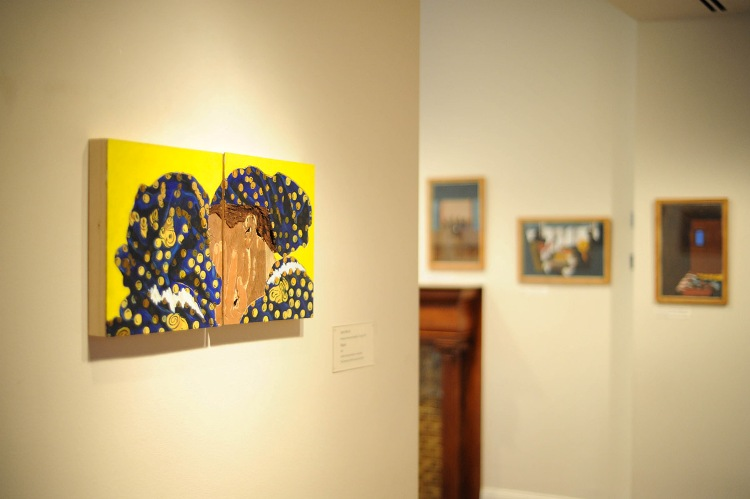(left) Aimé Mpane, Mapasa (Twins), 2012. Acrylic and mixed media on two wooden panels, each panel: 12 1/2 in x 12 in.  The Phillips Collection, Washington, D.C. Acquired with The Dorothy and Herbert Vogel Award, 2012. (right) Panels from Jacob Lawrence's The Migration Series, 1940-41. Photo: Joshua Navarro