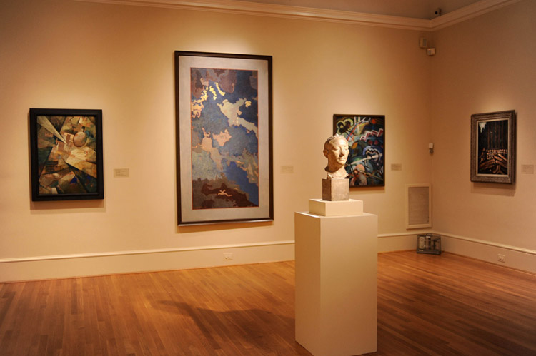 Kurt Schwitters's Radiating World (1920) hangs at left in this view of the current installation of the Phillips Main Gallery. Photo: Joshua Navarro