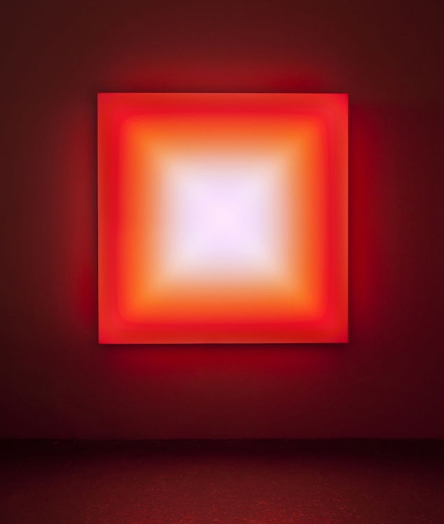 Leo Villareal, Scramble, 2011. Light-emitting diodes, Mac mini, custom software, circuitry, wood, Plexiglas 60 x 60 x 8 in. Ed. 2/3, The Drier Fund for Acquisitions, 2012. The Phillips Collection, Washington, D.C. © Leo Villareal, Courtesy of Conner Contemporary. Photo: James Ewing