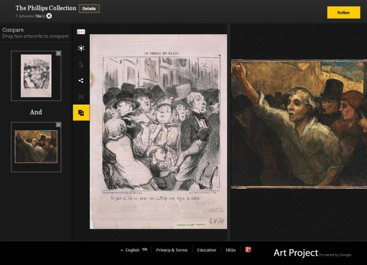 Google Art Project comparison of two works that feature crowds by Honore Daumier in The Phillips Collection: at left, Le Public du Salon: Un jour où l'on ne paye pas…, 1852. Lithograph on paper. 14 1/8 x 10 in. Gift of the Dwight Clark Bequest; at right, The Uprising (L'Emeute), 1848 or later. Oil on canvas, 34 1/2 x 44 1/2 in. Acquired 1925Google Art Project comparison of two works that feature crowds by Honore Daumier in The Phillips Collection: at left, Le Public du Salon: Un jour où l'on ne paye pas…, 1852. Lithograph on paper. 14 1/8 x 10 in. Gift of the Dwight Clark Bequest; at right, The Uprising (L'Emeute), 1848 or later. Oil on canvas, 34 1/2 x 44 1/2 in. Acquired 1925