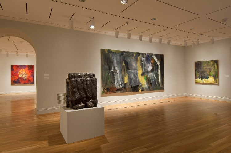 View upon entering Per Kirkeby: Paintings and Sculpture at the Phillips with Kirkeby's monumental painting Erdbeben (Earthquake) at center. Photo: Lee Stalsworth