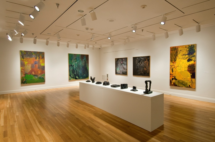 Another installation view, with the Phillips's Inferno V (1992) at far left and Inferno II (1992) on loan from The Museum of Fine Arts, Houston, beside it. Photo: Lee Stalsworth