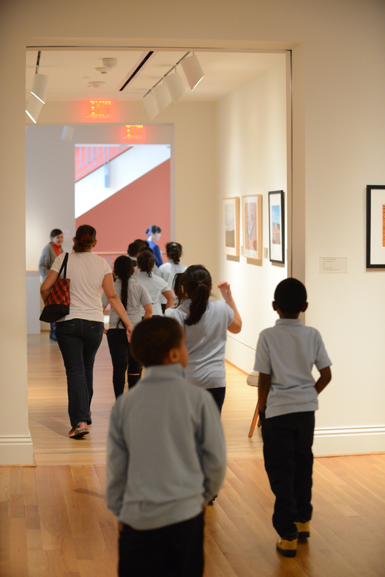 Students from Takoma Education Campus explore paintings in the galleries
