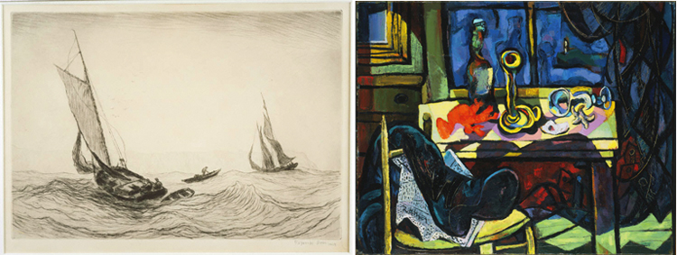 (Left) Reynolds Beal, In the Rips off Montauk, 1928, Drypoint on paper; 8 3/4 x 12 7/8 in. (22.2 x 32.7 cm). Acquisition date unknown. (Right) Rattner, Abraham, Window at Montauk Point, 1943, Oil on canvas; 25 5/8 x 32 in.; 65.0875 x 81.28 cm.. Acquired 1943.