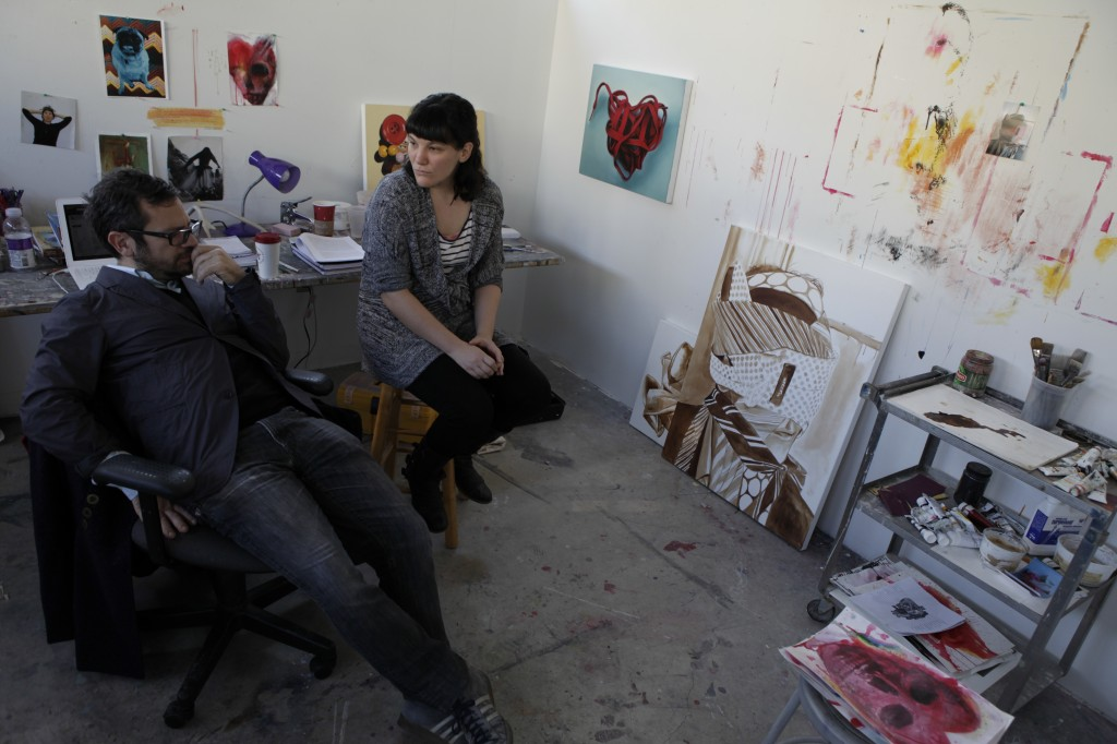 Reyes (right) during his studio visits and critiques at GW University. Photos: Dean Kessmann