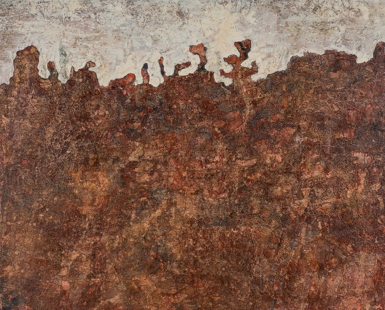 Jean Dubuffet, Paysage métapsychique (Metapsychical Landscape), 1952. Oil on canvas, 51 1/8 x 63 3/4 in. Des Moines Art Center. Gift of Melva Bucksbaum in honor of the Des Moines Art Center's 50th anniversary © 2012 Artists Rights Society (ARS), New York / ADAGP, Paris
