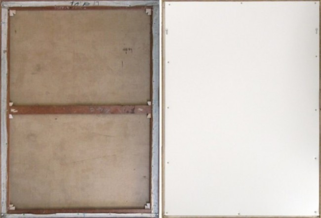 Left: The back of the painting, exposed; note the lighter color of the new stretcher keys against the darker, aged wood of the stretcher Right: The back of the painting with a protective foam-core backing.