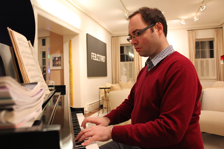 Pianist Alexander Melnikov practices last Saturday night. Photo: Margaret Rajic