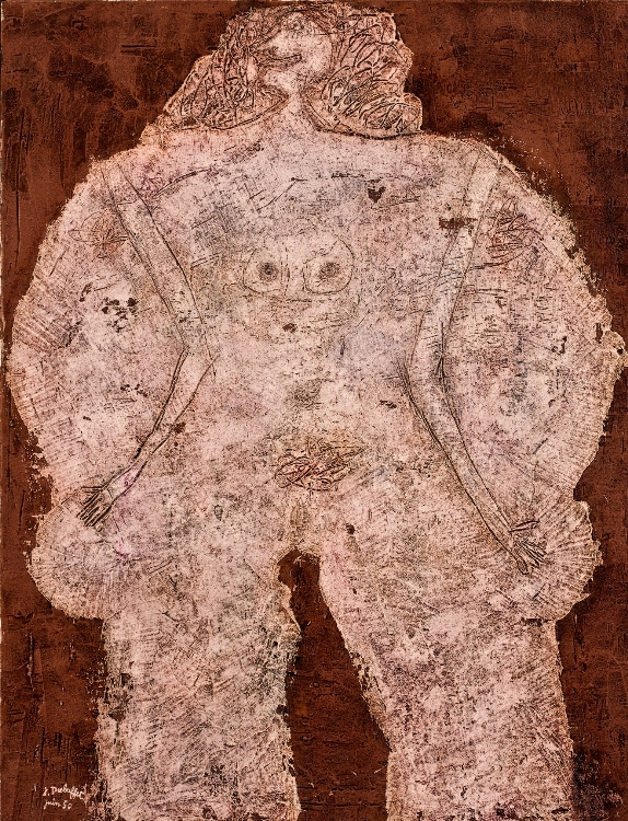 Jean Dubuffet, Corps de dame—Château d'Étoupe (Body of a Lady—Stuffed Castle), 1950. Oil on canvas, 45 3/4 x 35 3/8 in. Allen Memorial Art Museum, Oberlin College, Oberlin, Ohio. Gift of Joseph and Enid Bissett © 2012 Artists Rights Society (ARS), New York / ADAGP, Paris