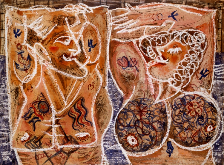 Alfonso Ossorio, Tattooed Couple, 1950. Watercolor, ink, and gouache on paper, 20 3/4 x 25 1/2 in. Collection of Michael Rosenfeld and halley k harrisburg
