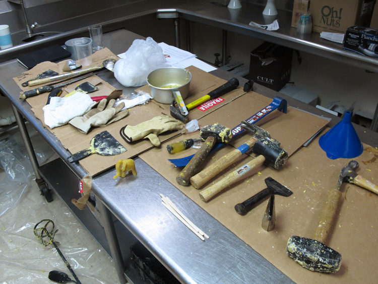Tools and work space in the museum kitchen during preparation for the wax room
