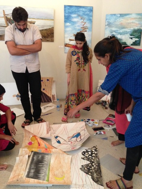 Emerging artists in Lahore hard at work collaborating.