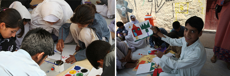 Students create art in response to Jacob Lawrence's Migration Series in Islamabad, Pakistan.
