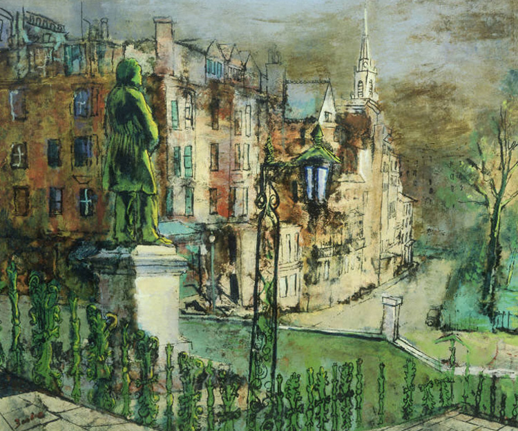 Painting of Park Street in Boston by Bostion Expressionist painter Karl Zerbe