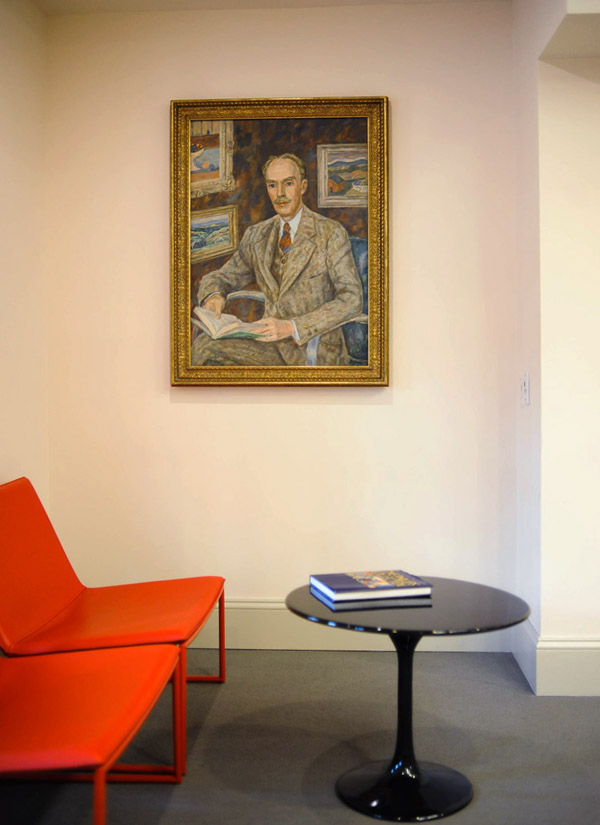 Marjorie Phillips's painting, Portrait of Duncan, undated, on view in Office Visitor Reception. Photo: Joshua Navarro