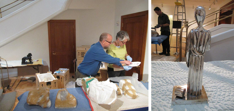 Phillips employees unpack and place the works featured in the exhibition.
