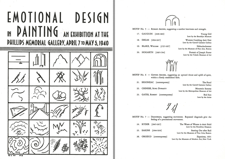 Brochure for Emotional Design in Painting, 1940. Phillips Collection Archives.