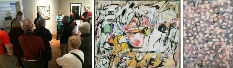 (Left to right) Valerie Hellstein gives a tour ; Willem de Kooning,  Asheville, 1948, Oil and enamel on cardboard; 25 9/16 x 31 7/8 in.; 64.92875 x 80.9625 cm.. Acquired 1952 ; Bradley Walker Tomlin, No. 8, 1952, Oil and charcoal on canvas; 65 7/8 x 47 7/8 in.; 167.3225 x 121.6025 cm.. Acquired 1955.