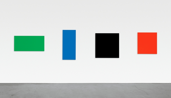 Ellsworth Kelly, Green Blue Black Red, 2007. Oil on canvas, four panels, 345 x 217 in. Private collection. Photo: Jerry L. Thompson, courtesy the artist © Ellsworth Kelly