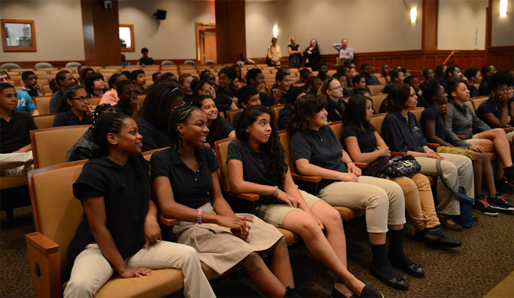 Takoma Education Campus middle school students settle into the auditorium on May 16. Photo: James R. Brantley