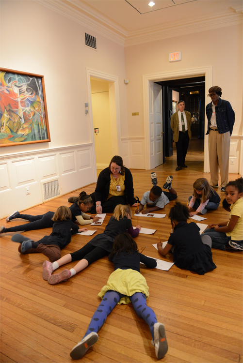 Tyler Elementary School Students create storyboards inspired by Franz Marc's Deer in the Forest I. Photo: James R. Brantley