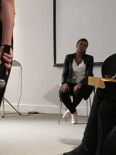 Wangechi Mutu taking audience questions