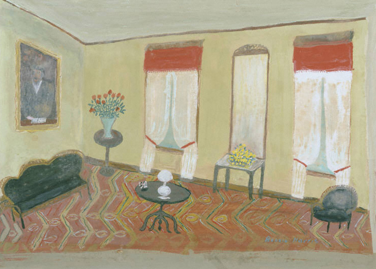 painting of a living room