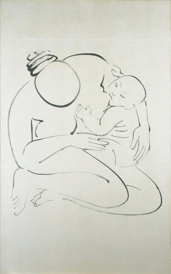 ink drawing of a mother nursing a child